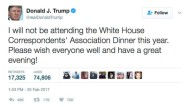 Trump sagt Teilnahme an Dinner der Korrespondenten ab