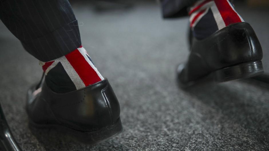 UK über alles: Ein Mitglied der Brexit-Partei trägt am 28. Januar 2020 Socken, auf denen die Flagge Großbritanniens zu sehen ist.