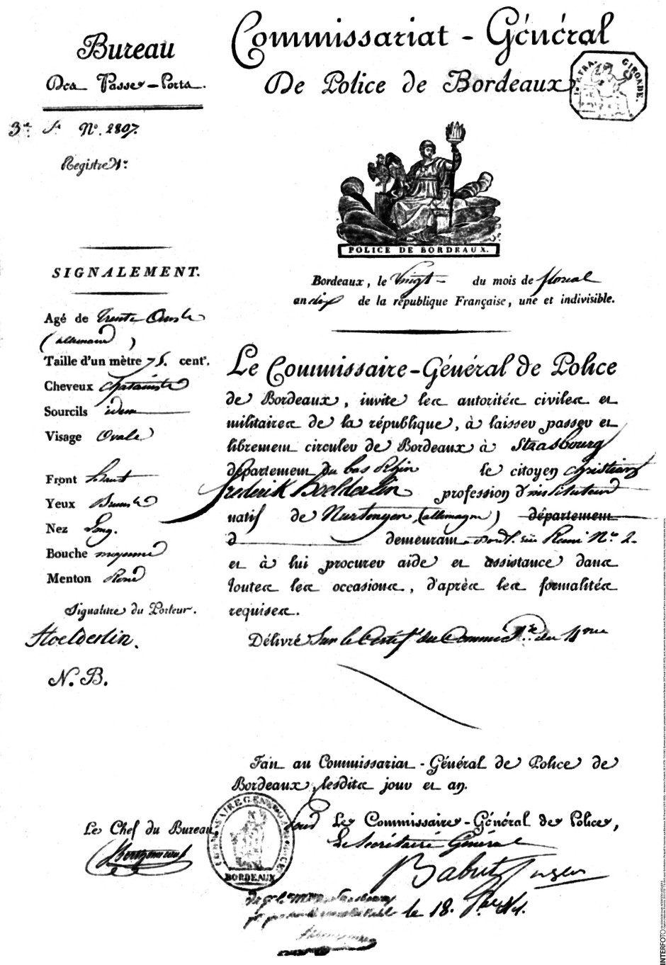 Hölderlins Pass für die Ausreise aus Bordeaux