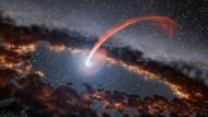 Wenn Schwarze Löcher Materie schlucken, führt das zu spektakulären Szenen, hier künstlerisch illustriert. Dass sie auch von sich aus Strahlung aussenden, wissen wir von Stephen Hawking.