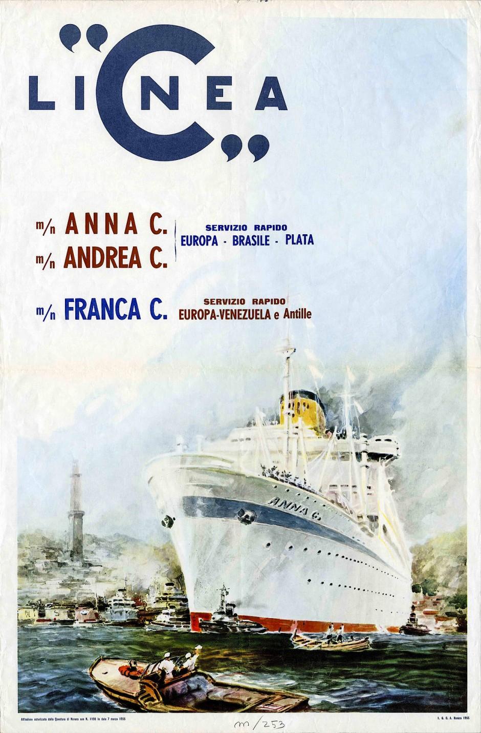 Am 31. März 1948 startete die Anna C, das erste Kreuzfahrtschiff der Reederei, ihre erste Reise von Genua nach Südamerika: Katalogtitel aus den frühen Jahren.