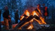 So sieht ein anständiges Lagerfeuer aus: Vor Beginn einer Treibjagd in Meckelnburg-Vorpommern.