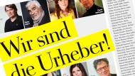"""Der Aufruf """"Wir sind die Urheber"""" in der Wochenzeitung """"Die Zeit"""""""