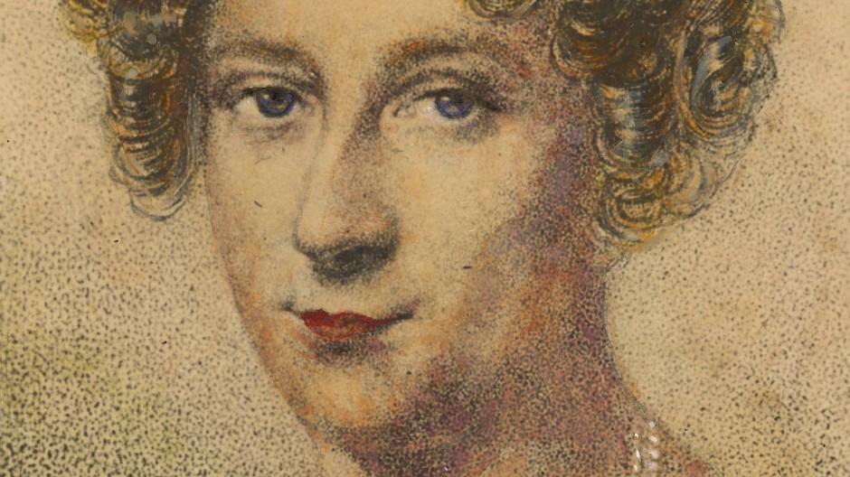 Rahel Varnhagen auf einem kolorierten Punktierstich, den Carl Eduard Weber nach ihrem Tod nach einem Pastell von Michael Moritz Daffinger aus dem Jahr 1817 schuf