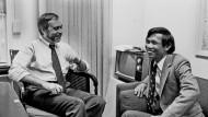 """Sydney Schanberg mit Dith Pran, 1980 in der Redaktion der """"New York Times"""""""