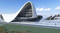 Eine Galerie von Entwürfen und Bauten Zaha Hadids. Hier eine Computerdarstellung des Heydar Aliyev Projects in Baku.