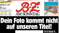 """Die """"B.Z.""""-Titelseite vom 24. Juli 2016"""