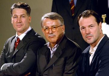 Ungeschminkt: Heinrich Breloer (Mitte) und seine Hauptdarsteller Tobias Moretti (links) und Sebastian Koch
