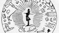 Die ganze Welt dreht sich um ihn: Sören Kierkegaard in einer Karikatur von 1846.