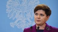 Für einen Moment in unangenehmer Umgebung: die polnische Ministerpräsidentin Beata Szydło