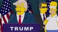 """Nur beim Wahlkampfslogan lagen sie falsch: Die Trump-Vision der """"Simpsons""""-Macher aus dem Jahr 2000."""