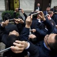 Wo sie hinschauen, ist oben: Alibaba-Angestellte am Samstag vor der New Yorker Börse.