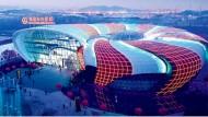 """Blick in die Zukunft der """"Oriental Movie Metropolis"""", eines Komplexes aus Filmstudios, Themenparks und Shoppingmalls, den die Wanda-Gruppe gerade in Qingdao errichtet."""