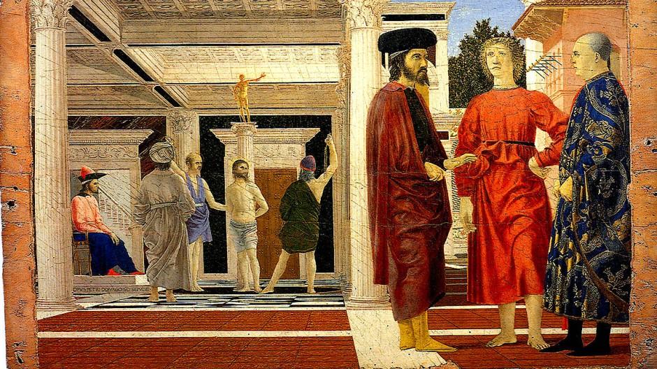"""Nicht einmal alle vornehmen Männer brauchen Schuhe. Das lässt dem Schuster Zeit. Die """"Geißelung Christi"""" von Piero della Francesca hängt in der Galleria Nazionale delle Marche in Urbino."""