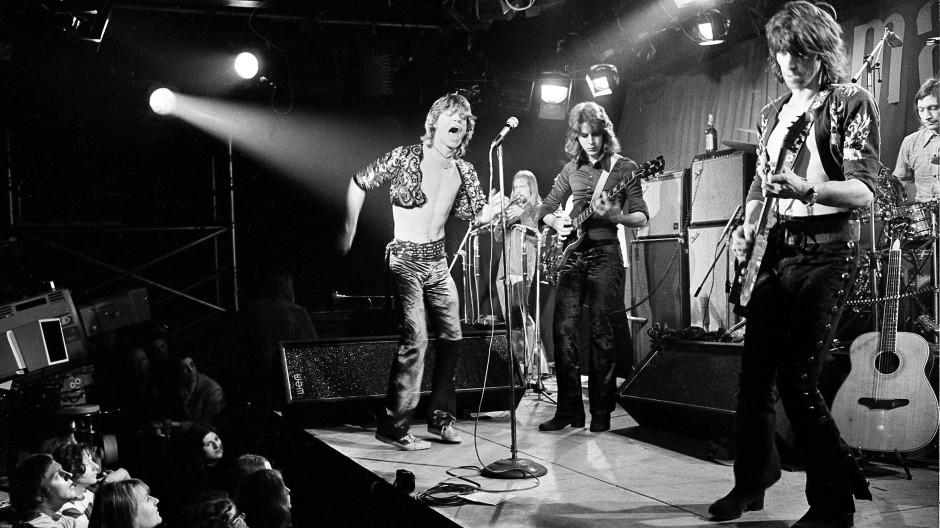 The Rolling Stones bei ihrem Auftritt im Londoner Marquee Club am 26. März 1971: Mick Jagger, Mick Taylor, Keith Richards und Charlie Watts