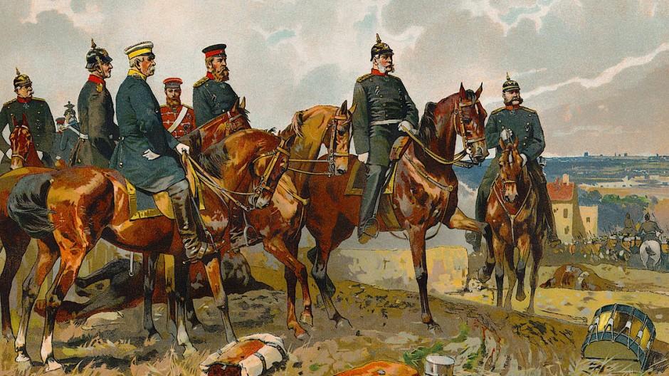 Die Sieger: Bismarck, Moltke, Roon und Wilhelm I. auf einen Schlachtenbild zum Deutsch-Französischen Krieg