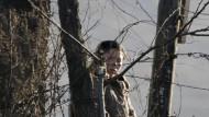 Äußerste Wachsamkeit ist angeordnet: Eine nordkoreanische Soldatin an der Grenze zu China