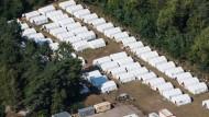 Zelte für Flüchtlinge in Eisenhüttenstadt (Brandenburg).