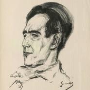Rechnerstirn: Der Pressezeichner Emil Stumpp porträtierte Emil Julius Gumbel 1927.