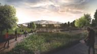 Kein Raumschiff: Die Pläne für Googles neues Hauptquartier legen Wert auf die Einbindung der Natur und auf organische Formen. Die Dachkonstruktion erinnert an das Olympiastadion in München.