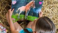 """Kleinmädchenromantik: """"Wendy"""" lesen, gebettet auf Stroh"""