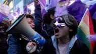 Aktivistin beim Marsch zum Weltfrauentag am 8. März in Istanbul