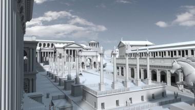 Nach solchem Prunk lechzten die Barbaren: das Forum Romanum in spätrömischer Zeit, um 310 nach Christus, mit der Rednertribüne im Vordergrund