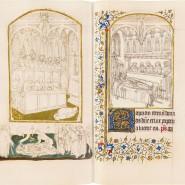 Doppelseite zum Requiem: links ein nächtliches Toten-Offizium mit einer Begräbnisdarstellung darunter, rechts die Totenmesse für einen verstorbenen König. Da das Buch für den französischen Thronfolger gedacht war, ist die Szene vom Königstod pikant: Der damals regierende Karl VI. war während seiner Regierungszeit mehrfach schwer krank.