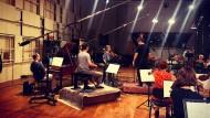 Alexander Melinikov, Jean-Guihen Queyras, Isabelle Faust, Pablo Heras-Casado und das Freiburger Barockorchester in den Berliner Teldex-Studios.