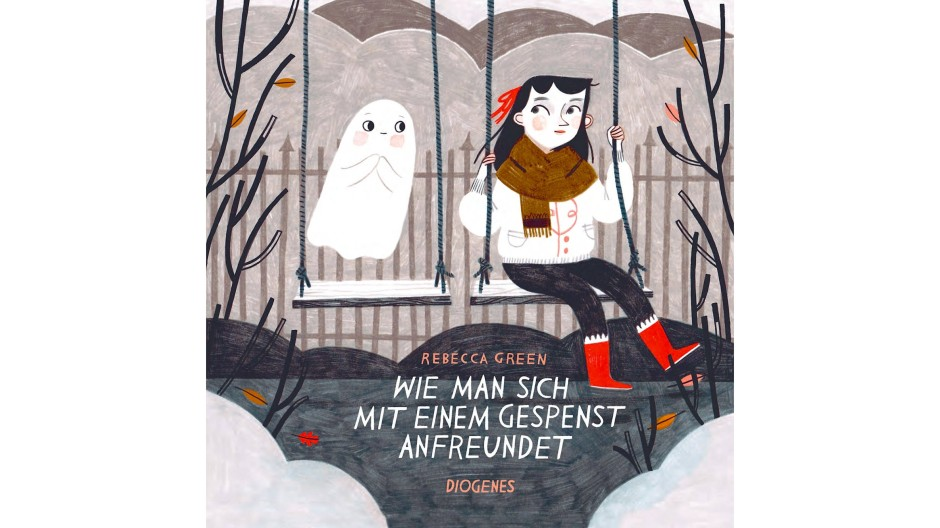 """Rebecca Green:""""Wie man sich mit einem Gespenst anfreundet."""" Aus dem Amerikanischen von Anna Cramer-Klett. Diogenes Verlag, Zürich 2019. 40 S., geb., 18,– €. Ab 4 J."""