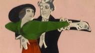 Bildpostkarte eines Tanzpaars aus Berlin, um 1915