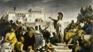 """Weitgehende Privilegien und Partizipationsrechte für einen exklusiven Kreis: kolorierter Druck des Gemäldes """"Das Zeitalter des Perikles"""" von Philipp von Foltz"""