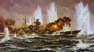 Was sollen Offiziersanwärter denken, die der Anblick dieses Gemäldes auf ihre aktive Dienstzeit bei unserer glorreichen Kriegsmarine vorbereitet? – Claus Bergen, Das letzte Gefecht der Bismarck, 1963