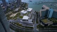 """Wo einst ein verschlafenes Fischerdorf lag: Das vom japanischen Architekten Fumihiko Maki entworfene Gebäude der """"Design Society"""" in Shenzhen"""