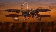 """Dann wollen wir mal: So stellt sich die Nasa vor, wie es aussieht, wenn der Lander """"Insight"""" auf dem Mars mit seinen Untersuchungen beginnt."""