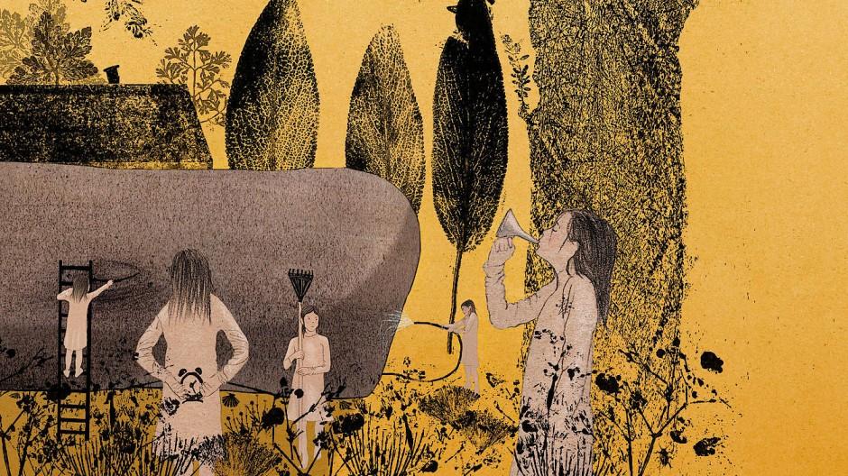 Unruhe schafft Unmut bei gestrandetem Gast: Das Gewusel um den Wal setzt Sabine Rufener dadurch ins Bild, dass sie das Mädchen Lille fünffach ins Bild setzt.