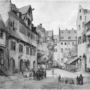 Der Arnsburger Hof, hier auf einem Aquarell um 1880, war ursprünglich Klosterbesitz, dann fiel er an die Stadt. Hier wohnte Tycho Mommsen, als Storm ihn besuchte.