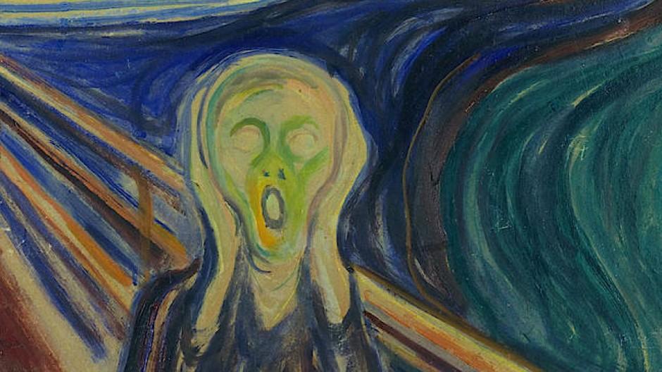 """Vier Versionen hat Edvard Munch von seinem bekanntesten Werk """"Der Schrei"""" gemalt – und auf einer einen Bleistiftsatz hinterlassen."""