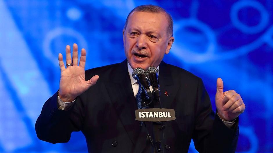 Der türkische Präsident Erdogan bei der Ankündigung wirtschaftlicher Reformen am Freitag in Istanbul