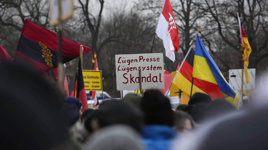 Einig in der Ablehnung: auf einer Pegida-Demonstration in Dresden.