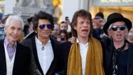 Drei Tage im Studio, und das neue Album ist eingespielt: Charlie Watts, Ronnie Wood, Mick Jagger und Keith Richards im April in London.