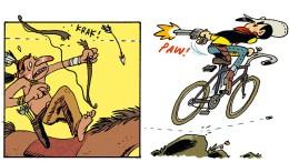 Männer, die auf Rädern reiten