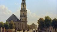 Carl Hasenpflug malte die Garnisonkirche in Potsdam im Jahr 1827 als Uhrbild in Öl auf Kupfer.