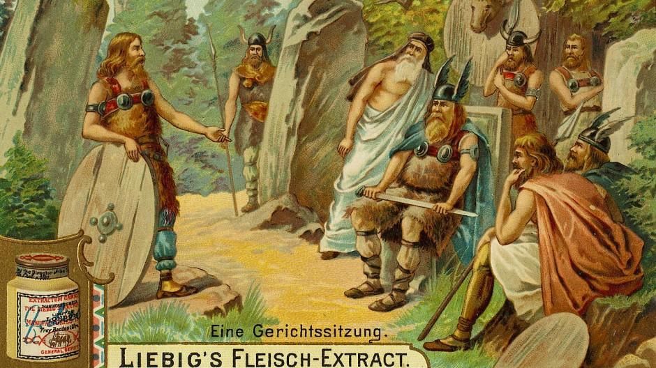 Kamen um 1900 sogar in der Werbung für Fleischextrakt vor: die Germanen