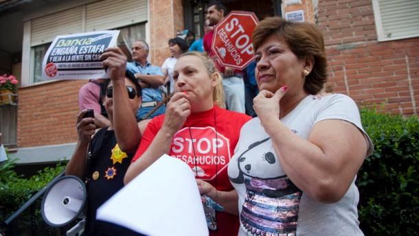 """""""Stop Evictions"""" Protest gegen Wohnungsraeumungen in Madrid"""