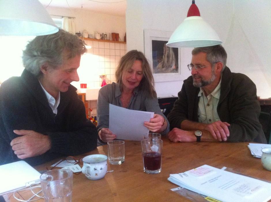 Der Kern der Bürgerinitiative 'Kontra Industrieschwein' in der Uckermark: Gert Müller (links), Sybilla Keitel und Thomas Volpers, der Vize-Landesvorsitzende des BUND in Brandenburg