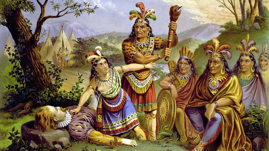 Was hat die Gehirnforschung zum Thema Kolonialismus beizutragen? Pocahontas und John Smith, Lithografie um 1870.