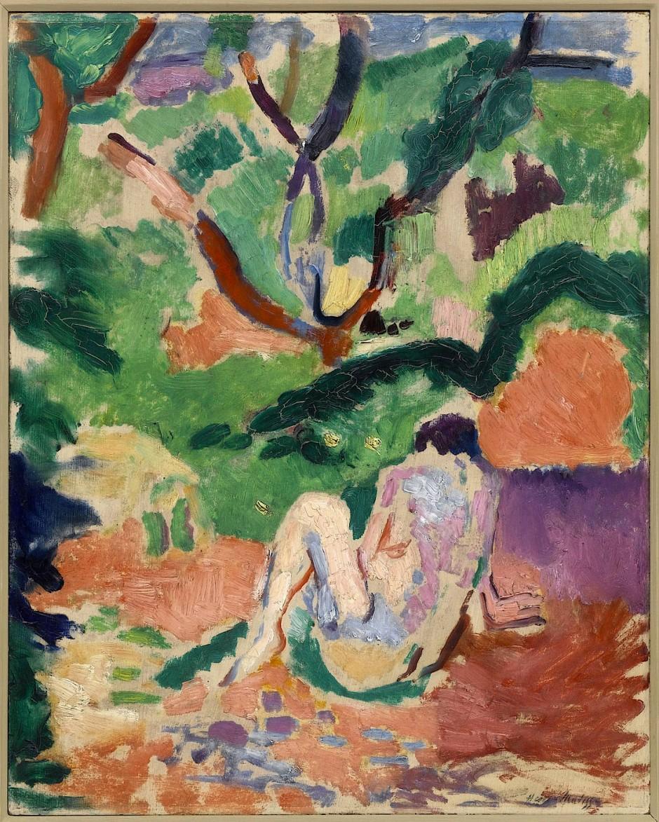 """Der Wald könnte von Cézanne sein, die Nackte, durch die der beige Leinwandgrund schimmert, ist ganz Matisse: """"Akt im Wald"""", 1906"""