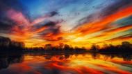 Fraglos ganz besonders schön: Sonnenuntergang am Donnerstagabend über dem West Park im englischen Long Eaton