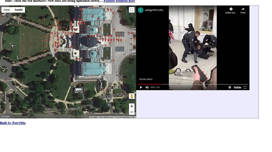 Patr10tics Karte: Videos lassen sich mit Klick auf die Markierung abspielen.